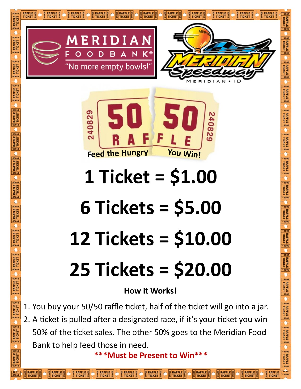 speedway 50 50 meridian food bank raffle sign 8x11 2016