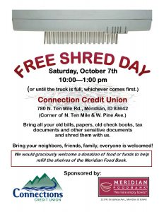 Free Shred Day @ Connection Credit Union | Meridian | Idaho | United States