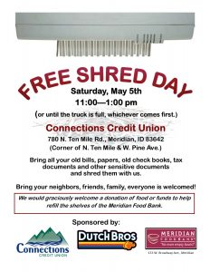 Free Shred Day @ Connections Credit Union | Meridian | Idaho | United States